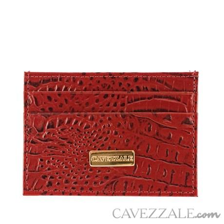 Porta Cartões de Couro Croco Cavezzale Vermelho 101595
