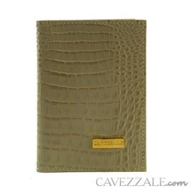 Porta Documentos de Couro Croco Cavezzale Bege 101596
