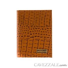 Porta Documentos de Couro Croco Cavezzale Caramelo 101596