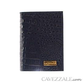 Porta Documentos de Couro Croco Cavezzale Marinho 101596