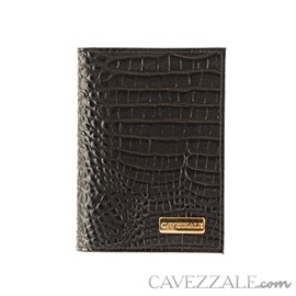 Porta Documentos de Couro Croco Cavezzale Preto 101596