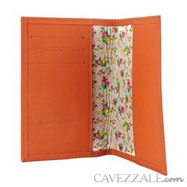 Porta Passaporte de Couro Cavezzale Laranja 101749