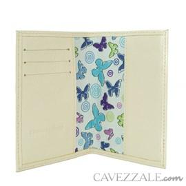 Porta Passaporte de Couro Feminina Cavezzale Vanilla 102594