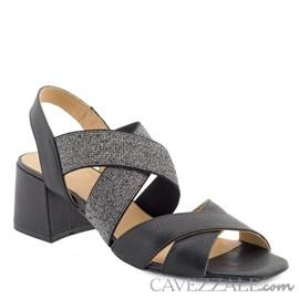 Sandália em Couro Preto Cavezzale Premium 0101441