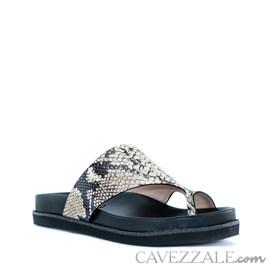 Sandália em Couro Snake Bege Cavezzale 0101426