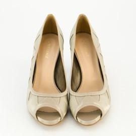 Sapato De Festa Prata Velho Scarpin Feminino Tecido Cavezzale 097637