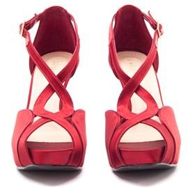 Sapato De Festa Vermelho Scarpin Feminino Em Cetim Cavezzale 098332