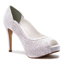 Sapato De Noiva Branco Com Bordado Scarpin Cavezzale 098333
