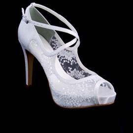 Sapato De Noiva Branco Com Renda Salto Alto Scarpin Cavezzale 097634