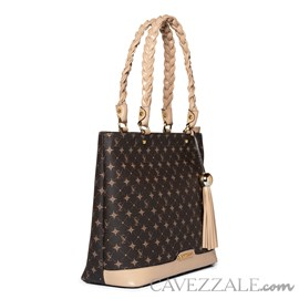 Shopping Bag Feminina Personnalite Cavezzale Monograma Chocolate/bege 102753