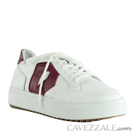 Tênis de Couro Cavezzale Branco/Burgundy 102319