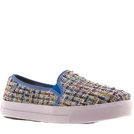 Tenis Slip On Tweed Sintético Cavezzale Azul 099418