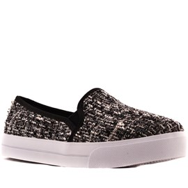 Tenis Slip On Tweed Sintético Cavezzale Preto 099418